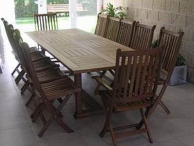 Mesas de madera para exterior en incienso guatambu acacia for Mesa plegable quincho